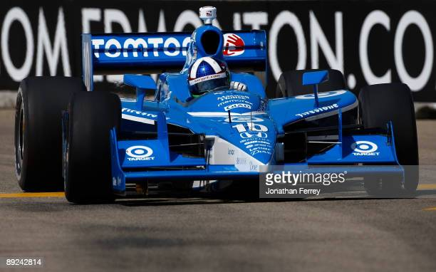 Dario Franchitti drives his Vaseline for Men Target Chip Ganassi Racing Dallara Honda during practice for the IRL IndyCar Series Rexall Edmonton Indy...