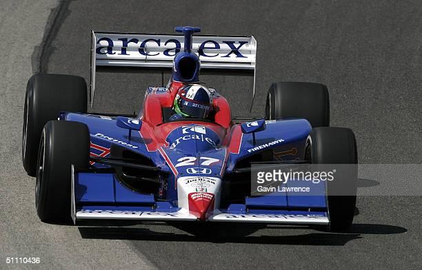 Dario Franchitti drives the Andretti Green Racing ArcaEx Honda Dallara during practice for the Indy Racing League IndyCar Series Menards AJ Foyt Indy...