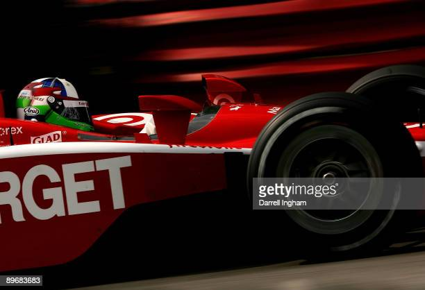 Dario Franchitti drives the Target Chip Ganassi Racing Dallara Honda during practice for the IRL IndyCar Series The Honda Indy 200 on August 7 2009...