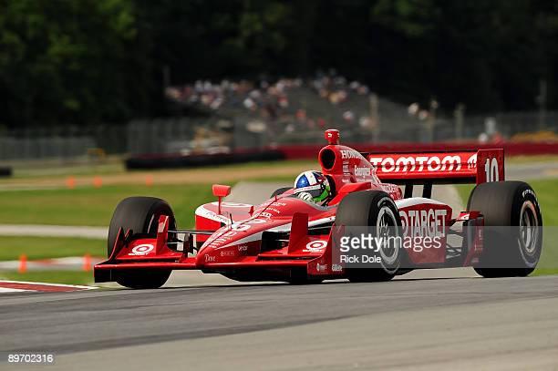 Dario Franchitti drives the Target Chip Ganassi Racing Dallara Honda during practice for IRL Indy Car Series The Honda Indy 200 at the MidOhio Sports...