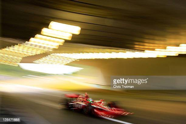 Dario Franchitti of Great Britain drives the Target Chip Ganassi Racing Dallara Honda during practice for the IZOD IndyCar Series Indy Japan The...