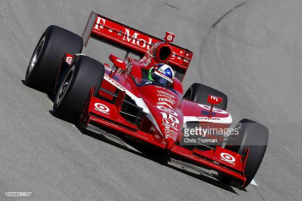 Dario Franchitti of Scotland driver of the Target Chip Ganassi Racing Dallara Honda practices for the IRL Indycar Series Iowa Corn Indy 250 on June...