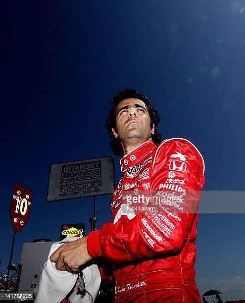 Dario Franchitti of Scotland driver of the Target Chip Ganassi Racing Honda prepares for practice during the IZOD IndyCar Series Honda Grand Prix of...
