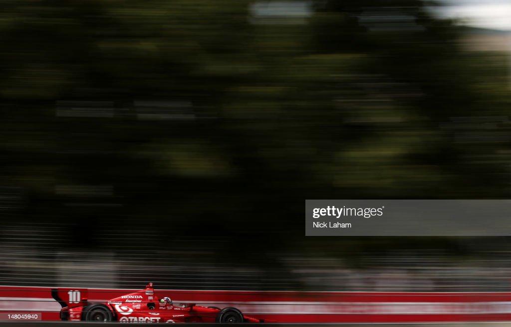 Dario Franchitti of Scotland, drives the #10 Target Chip Ganassi Racing Honda during the IZOD INDYCAR Series Honda Indy Toronto on July 8, 2012 in Toronto, Canada.
