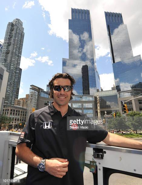 Dario Franchitti the winner of the 2010 Indianapolis 500 stops in front of the Time Warner Center at Columbus Circle as he celebrates his victory...