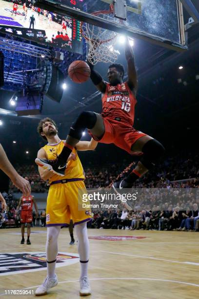 Dario Hunt of the Wildcats dunks the ball during the NBL Blitz preseason match between Perth Wildcats and Sydney Kinds at Derwent Entertainment...