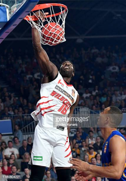 Dario Hunt of the Wildcats slam duns during the round five NBL match between the Brisbane Bullets and the Perth Wildcats at Nissan Arena on November...