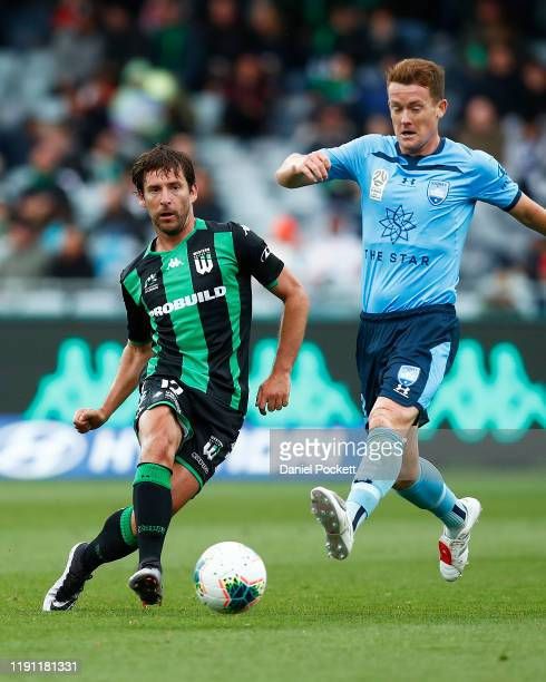 Dario Jertec of Western United passes the ball during the round eight ALeague match between Western United and Sydney FC at GMHBA Stadium on December...