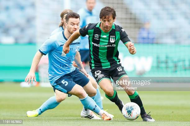 Dario Jertec of Western United runs with the ball during the round eight ALeague match between Western United and Sydney FC at GMHBA Stadium on...