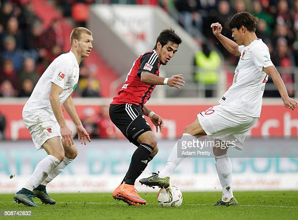 Dario Lecanzo Farina of Ingolstadt 04 in action during the Bundesliga match between FC Ingolstadt and FC Augsburg at Audi Sportpark on February 6...
