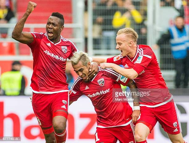 Dario Lezcano Farina and his team mates Bernardo de Oliveira and Florent Hadergjonaj of FC Ingolstadt 04 celebrate the second goal during the...