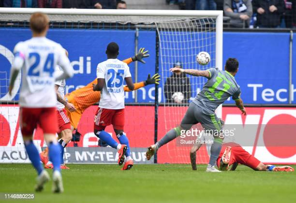 Dario Lezcano Farina of FC Ingolstadt 04 scores his team's first goal during the Second Bundesliga match between Hamburger SV and FC Ingolstadt 04 at...