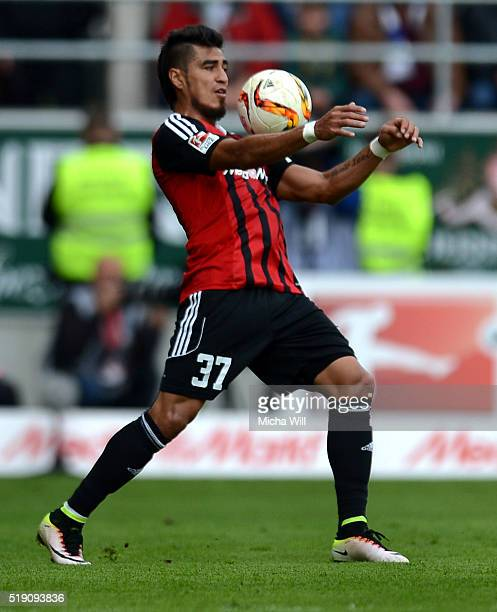 Dario Lezcano Farina of Ingolstadt controls the ball during the Bundesliga match between FC Ingolstadt and FC Schalke 04 at Audi Sportpark on April 2...