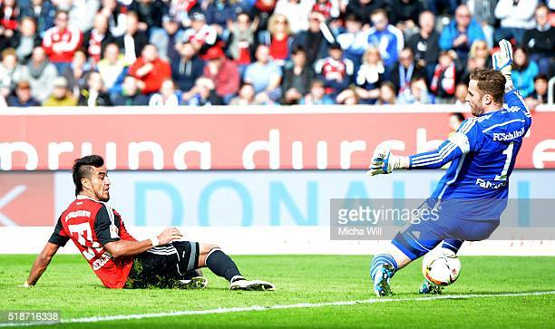 Dario Lezcano Farina of Ingolstadt scores his team's third goal during the Bundesliga match between FC Ingolstadt and FC Schalke 04 at Audi Sportpark...