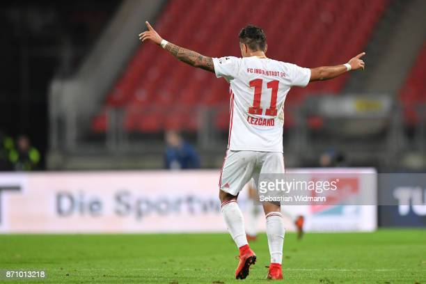 Dario Lezcano of FC Ingolstadt 04 gestures after the final whistle during the Second Bundesliga match between 1 FC Nuernberg and FC Ingolstadt 04 at...