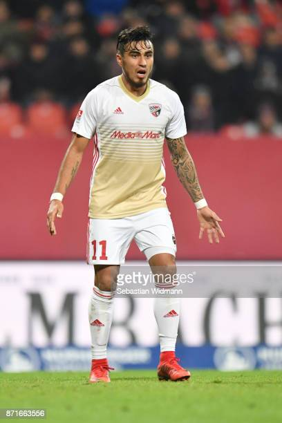 Dario Lezcano of FC Ingolstadt 04 gestures during the Second Bundesliga match between 1 FC Nuernberg and FC Ingolstadt 04 at MaxMorlockStadion on...