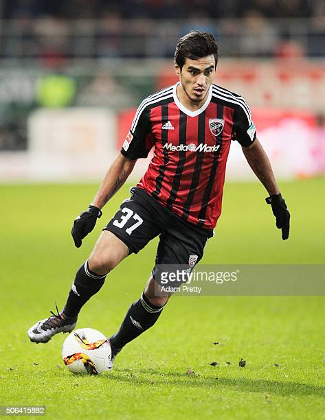 Dario Lezcano of FC Ingolstadt in action during the Bundesliga match between FC Ingolstadt and FSV Mainz at Audi Sportpark on January 23 2016 in...