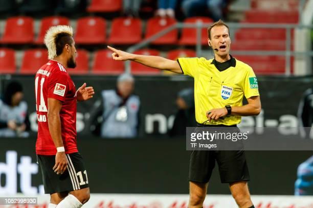 Dario Lezcano of FC Ingolstadt speaks with Referee Bastian Dankert during the Second Bundesliga match between FC Ingolstadt 04 and 1 FC Union Berlin...