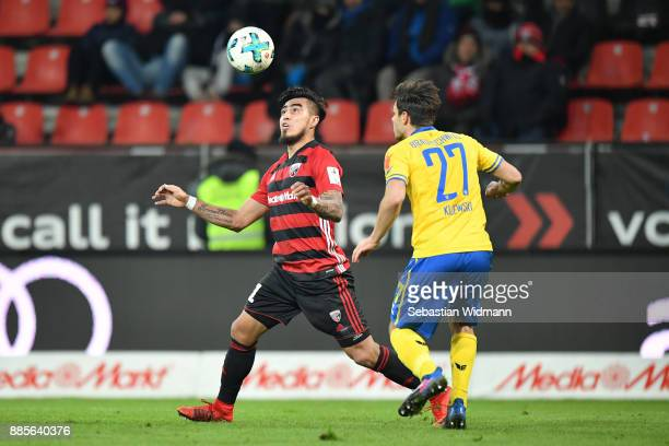 Dario Lezcano of Ingolstadt and Niko Kijewski of Braunschweig compete for the ball during the Second Bundesliga match between FC Ingolstadt 04 and...
