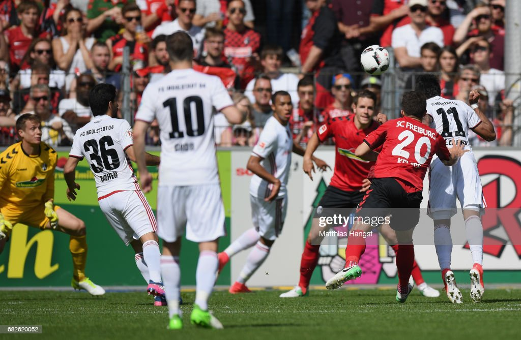 Dario Lezcano of Ingolstadt scores his team's first goal during the Bundesliga match between SC Freiburg and FC Ingolstadt 04 at Schwarzwald-Stadion on May 13, 2017 in Freiburg im Breisgau, Germany.