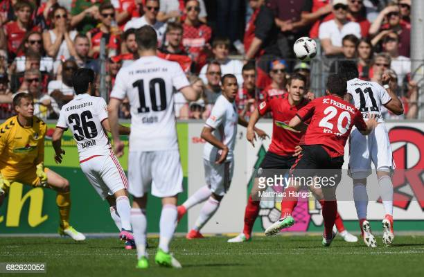 Dario Lezcano of Ingolstadt scores his team's first goal during the Bundesliga match between SC Freiburg and FC Ingolstadt 04 at SchwarzwaldStadion...