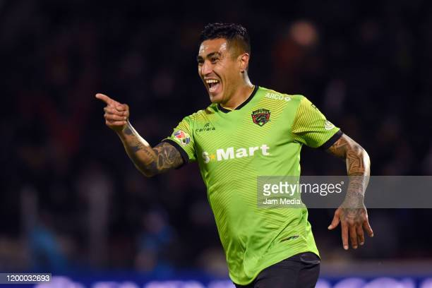 Dario Lezcano of Juarez celebrates after scoring the first goal of his team during the 2nd round match between FC Juarez and Pumas UNAM as part of...