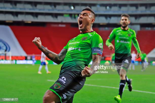 Dario Lezcano of Juarez celebrates after scoring the first goal of his team during the 4th round match between Chivas and FC Juarez as part of the...