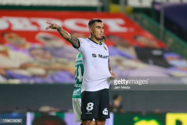 Dario Lezcano of Juarez gestures during a match between Leon and FC Juarez as part of the friendly tournament Copa Telcel at Leon Stadium on July 14...