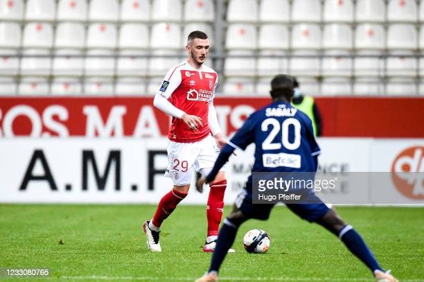 Dario MARESIC of Reims during the Ligue 1 match between Reims and Girondins Bordeaux at Stade Auguste Delaune on May 23, 2021 in Reims, France.