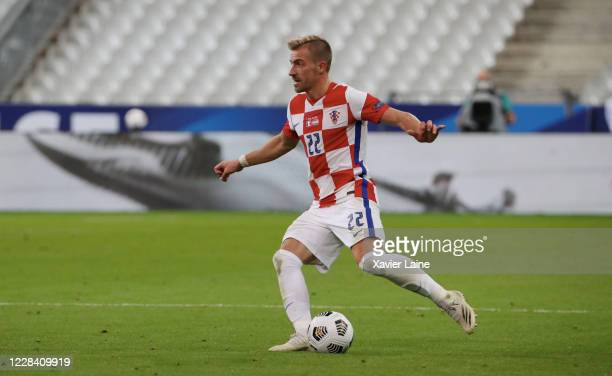 Dario Melnjak of Croatia in action during the UEFA Nations League group stage match between France and Croatia at Stade de France on September 8 2020...