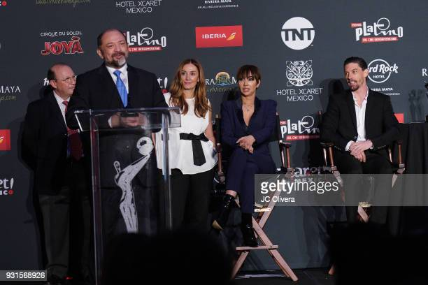 Dario Molina speaks during the 5th Annual Premios PLATINO Of Iberoamerican Cinema Nominations Announcement at Hollywood Roosevelt Hotel on March 13...
