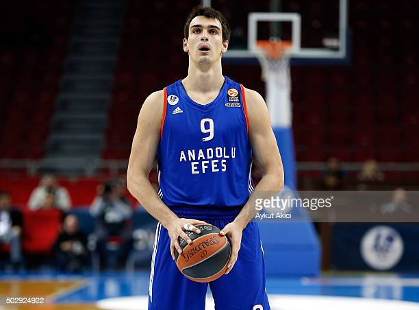 Dario Saric #9 of Anadolu Efes Istanbul in action during the Turkish Airlines Euroleague Basketball Top 16 Round 1 game between Anadolu Efes Istanbul...