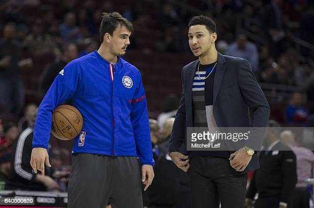 Dario Saric and Ben Simmons of the Philadelphia 76ers talk prior to the game against the Los Angeles Clippers at the Wells Fargo Center on January 24...