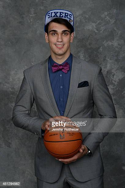 Dario Saric aquired by the Philadelphia 76ers via trade poses for a portrait during the 2014 NBA Draft at the Barclays Center on June 26 2014 in the...