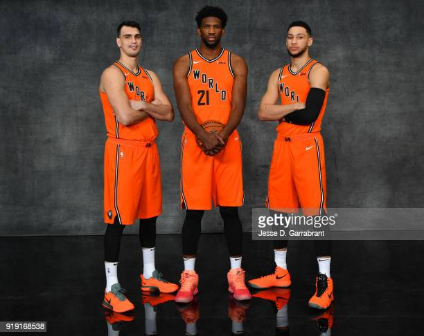 Dario Saric Joel Embiid and Ben Simmons of the Philadelphia Sixers pose for portraits before the Mountain Dew Kickstart Rising Stars Game during...