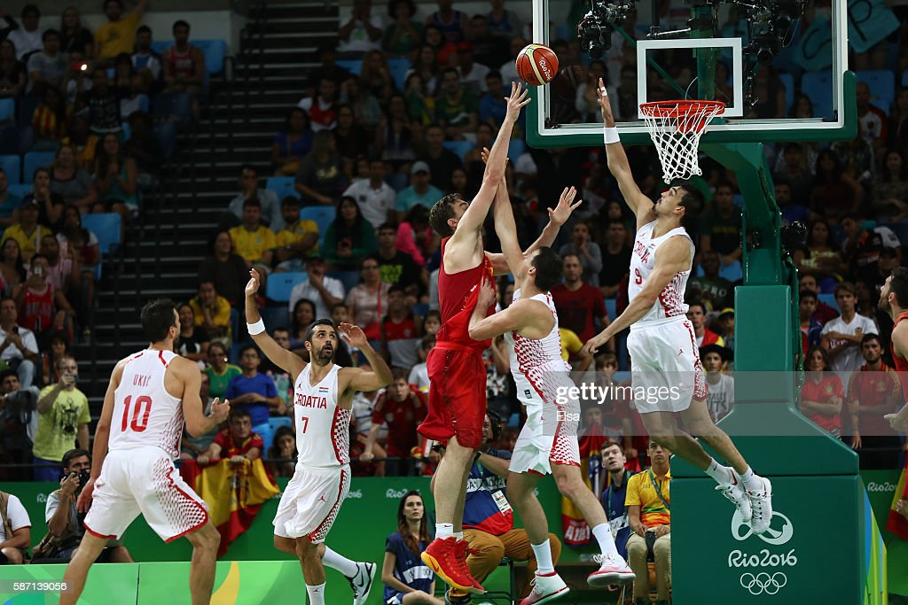 Dario Saric #9 of Croatia blocks Pau Gasol #4 of Spain during a Men's preliminary round basketball game between Croatia and Spain on Day 2 of the Rio 2016 Olympic Games at Carioca Arena 1 on August 7, 2016 in Rio de Janeiro, Brazil.