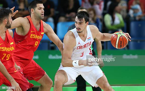 Dario Saric of Croatia competes during a Group B match between Croatia and Spain of men's basketball preliminary round of Rio 2016 Olympic Games in...