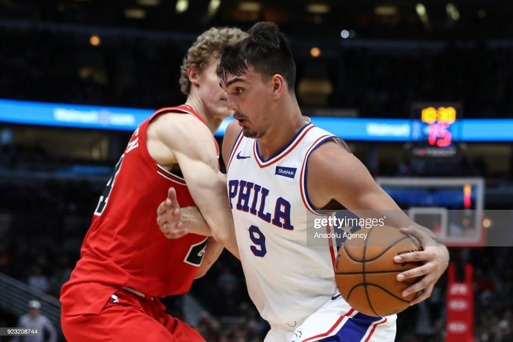 Dario Saric (9) of Philadelphia 76ers in action during the NBA basketball match between Chicago Bulls and Philadelphia 76ers at the United Center in Chicago, Illinois, United States on February 22, 2018.