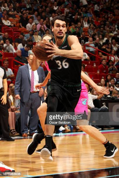 Dario Saric of the Minnesota Timberwolves drives to the basket against the Miami Heat on December 30 2018 at American Airlines Arena in Miami Florida...