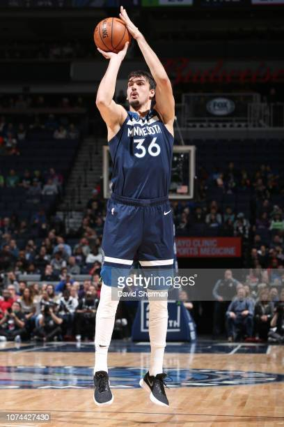 Dario Saric of the Minnesota Timberwolves shoots the ball against the Detroit Pistons on December 19 2018 at Target Center in Minneapolis Minnesota...