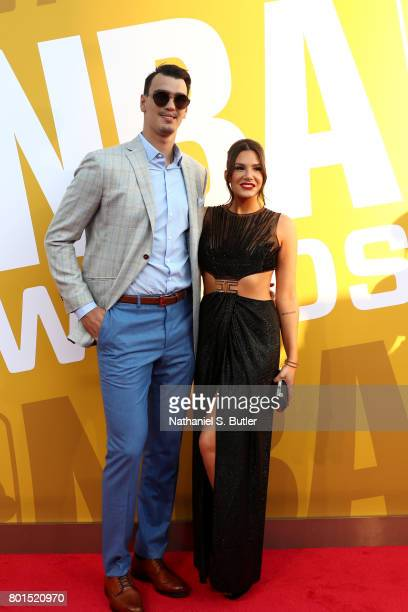 Dario Saric of the Philadelphia 76ers arrives at the red carpet at the NBA Awards Show on June 26 2017 at Basketball City at Pier 36 in New York City...