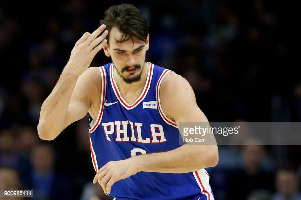 Dario Saric of the Philadelphia 76ers celebrates after scoring a three pointer against the San Antonio Spurs at Wells Fargo Center on January 3 2018...