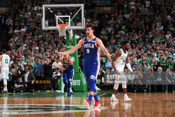 Dario Saric of the Philadelphia 76ers celebrates during the game against the Boston Celtics in Game Five of the Eastern Conference Semifinals of the...