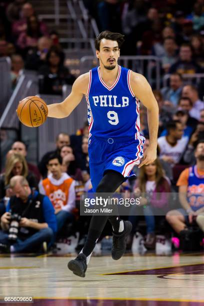 Dario Saric of the Philadelphia 76ers drives during the first half against the Cleveland Cavaliers at Quicken Loans Arena on March 31 2017 in...