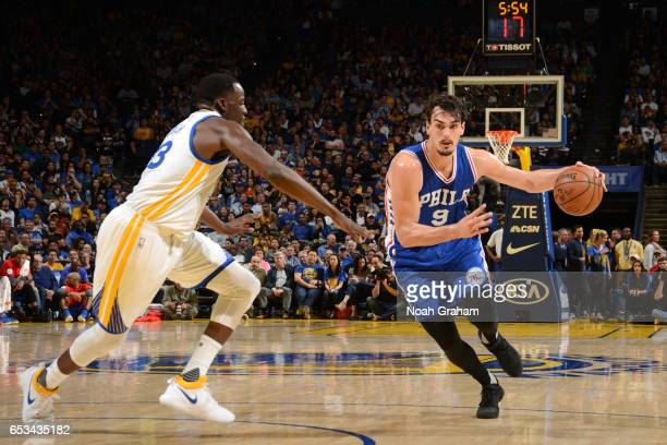 Dario Saric of the Philadelphia 76ers drives to the basket against the Golden State Warriors during the game on March 14 2017 at ORACLE Arena in...