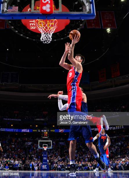 Dario Saric of the Philadelphia 76ers drives to the basket against the Oklahoma City Thunder at Wells Fargo Center on December 15 2017 in...