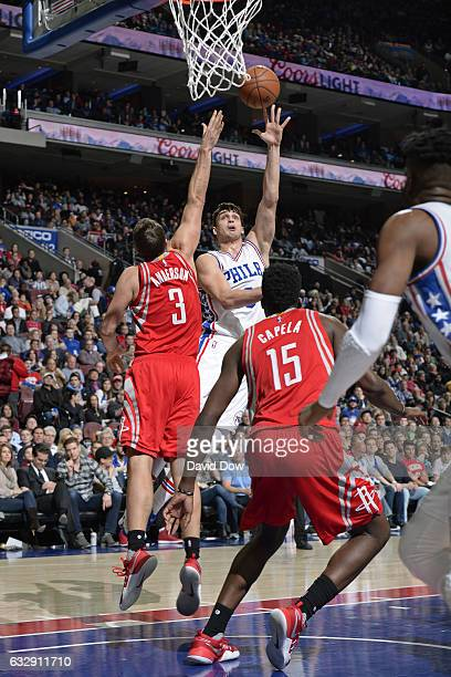 Dario Saric of the Philadelphia 76ers drives to the basket and shoots the ball against the Houston Rockets at Wells Fargo Center on January 27 2017...