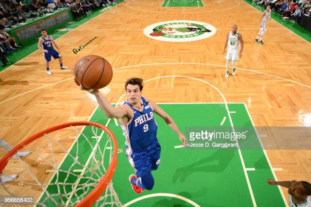 Dario Saric of the Philadelphia 76ers goes to the basket against the Boston Celtics during Game Five of the Eastern Conference Semifinals of the 2018...