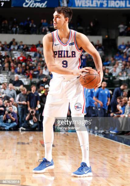 Dario Saric of the Philadelphia 76ers handles the ball against the Dallas Mavericks on October 28 2017 at the American Airlines Center in Dallas...