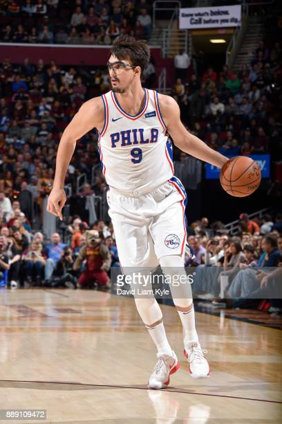 Dario Saric of the Philadelphia 76ers handles the ball against the Cleveland Cavaliers on December 9 2017 at Quicken Loans Arena in Cleveland Ohio...